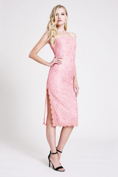 SHO The Label - Gisele Lace Strapless Midi Dress