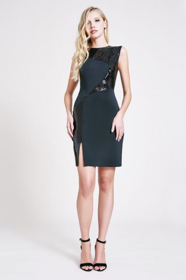 SHO The Label - Daria Crepe Sequin Slit Mini Dress
