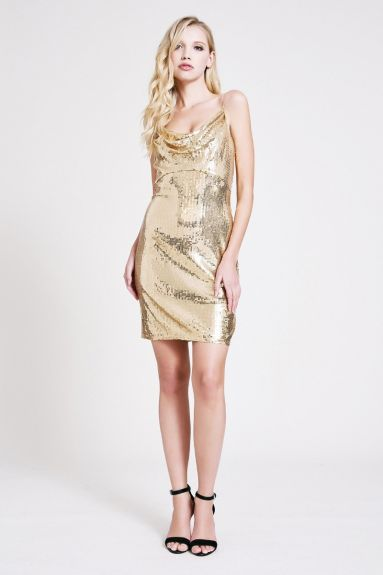 SHO The Label - Kim Cowl-Neck Sequin Mini Dress