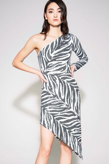 SHO The Label - Gigi Asymmetrical Zebra Print Cocktail Dress