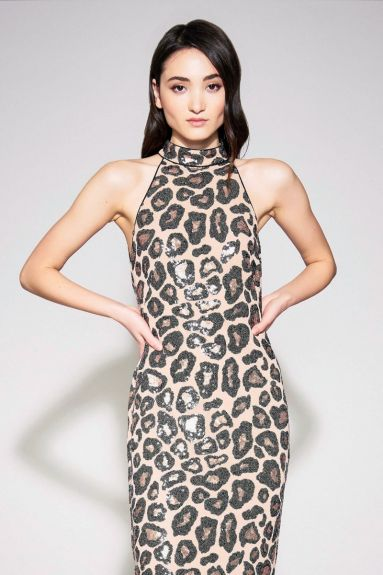 SHO The Label - Selita Halter Cheetah Print Midi Dress