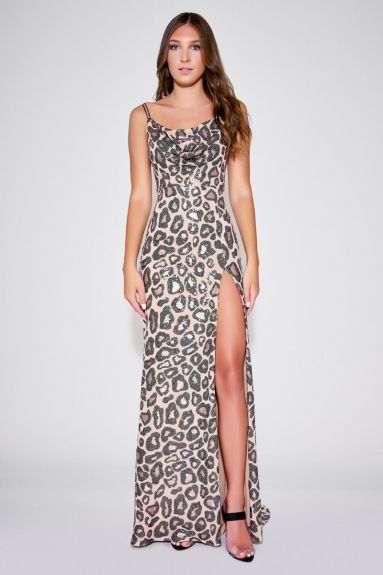 SHO The Label - Misch Cheetah Strap Gown