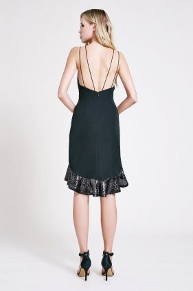 Lara Crepe Halter Sequin Cocktail Dress