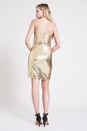 Kim Cowl-Neck Sequin Mini Dress
