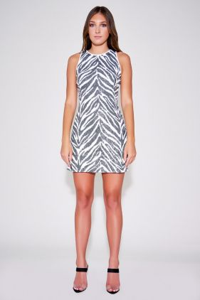 Reid Zebra Print Halter Mini Dress