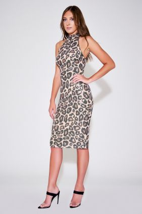 Selita Halter Cheetah Print Midi Dress