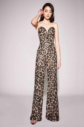 Paris Cheetah Print Sequin Jumpsuit