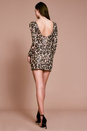 Chaka Cheetah Print Sequin Mini Dress